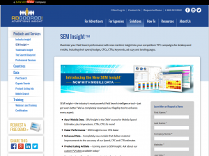 Adgooroo SEM Insight overview page full size image