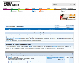 Search Engine Watch Forum home page full size image
