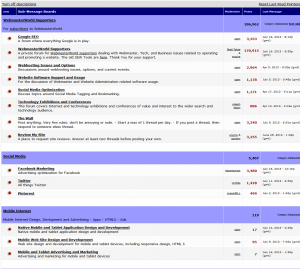 WebmasterWorld forums home page full size image