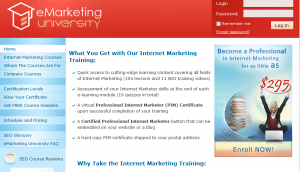 eMarketing University home page full size image