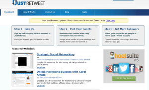 JustRetweet.com home page full size image