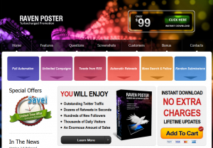 RavenPoster.com Twitter Marketing Software home page full size image