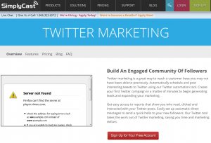 SimplyCast Twitter Marketing solution page full size image