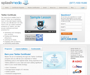 Splash Media U Twitter Fundamentals course overview page full size image