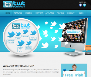 TWTDominator.com Twitter Follower Software home page full size image