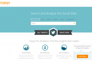 Topsy.com Pro Twitter Analytics home page full size image