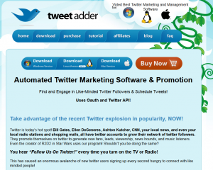 TweetAdder.com Twitter Follower Software home page full size image