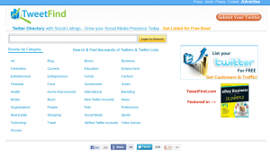 TweetFind.com Twitter Directory home page full size image