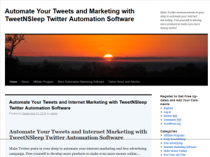 TweetNSleep.com Twitter Automation software home page full size image