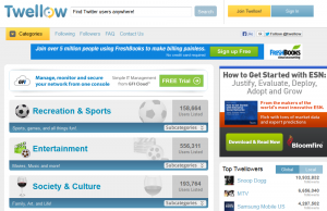 Twellow.com Twitter Directory home page full size image