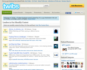 Twibs.com Twitter Business Directory home page full size image
