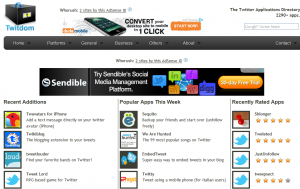 Twitdom.com Twitter App Directory home page full size image