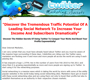 'Twitter Marketing Secrets' (TweetMarketingSecret.com) ebook sales page full size image