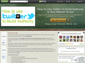 Udemy.com 'How To Use Twitter To Build Authority' course overview page full size image