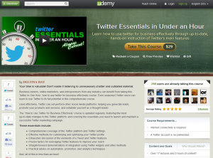 Udemy.com 'Twitter Essentials in Under an Hour' course overview page full size image