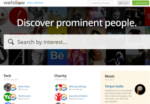 Wefollow.com Twitter Directory home page full size image