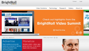 BrightRoll (BrightRoll.com) Video Advertising network home page full size image