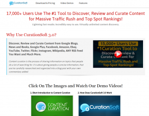CurationSoft (CurationSoft.com) Web 2.0 marketing software home page full size image