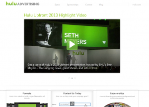 Hulu Advertising (hulu.com/advertising) overview page full size image