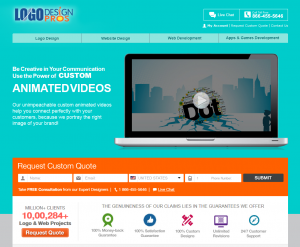 Logo Design Pros Animated Video production service (logodesignpros.com/animated-video) overview page full size image