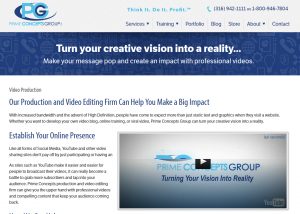 Prime Concepts Video Production Services (primeconcepts.com/video-production) overview page full size image