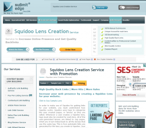 SubmitEdge Squidoo Lens Creation service (submitedge.com/squidoo-lens-creation-service) sales page full size image