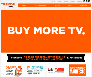 Tremor Video (TremorVideo.com) Video advertising network home page full size image