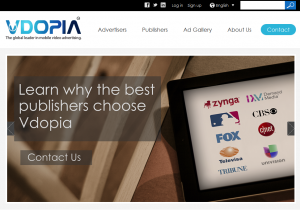 Vdopia Inc (Vdopia.com) Mobile Video advertising network home page full size image