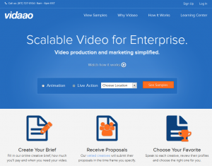 Vidaao.com Video production platform home page full size image