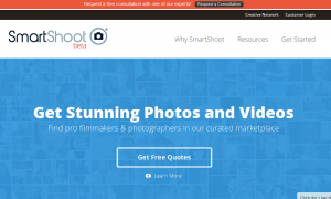 SmartShoot.com Video production marketplace home page full size image