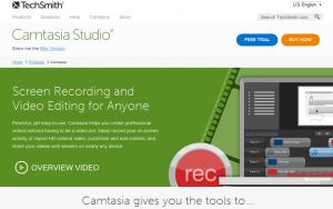 Camtasia Studio (techsmith.com/camtasia) sales page full size image