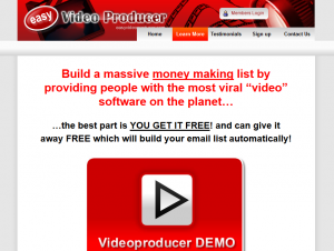 Easy Video Producer (EasyVideoProducer.com) home page full size image