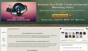 Udemy.com 'Create an Internet Marketing Video' course overview page full size image