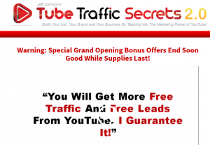 Jeff Johnson's 'Tube Traffic Secrets 2.0' (tubetrafficsecrets.com) sales page full size image