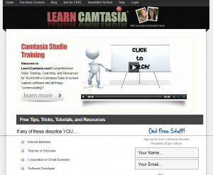 'Learn Camtasia' (LearnCamtasia.com) home page full size image