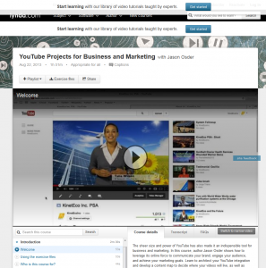 Lynda.com 'Youtube projects for Business and Marketing' course overview page full size image