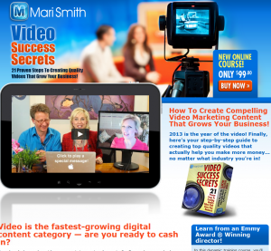 Mari Smith's 'Video Success Secrets' (marismith.com/videosuccesssecrets) sales page full size image