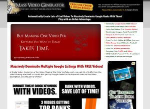 Mass Video Generator (MassVideoGenerator.com) home page full size image