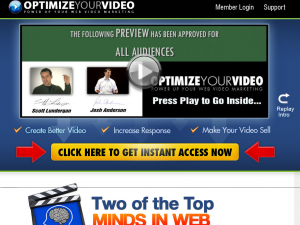 'Optimize Your Video' (OptimizeYourVideo.com) sales page full size image