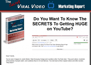 'The Secret Viral Video Marketing Report' (secretviralvideomarketingreport.com) sales page full size image