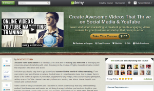 Udemy.com 'Sociable Video' course overview page full size image