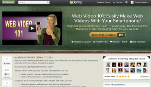 Udemy.com 'Web Video 101' course overview page full size image