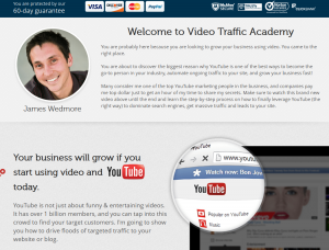 'Video Traffic Academy' (videotrafficacademy.com/2013) sales page full size image