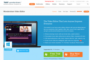 Wondershare Video Editor (wondershare.com/video-editor) overview page full size image