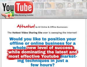 The 'Youtube Video Marketing Evolution' program (videomarketingevolution.com) sales page full size iamge