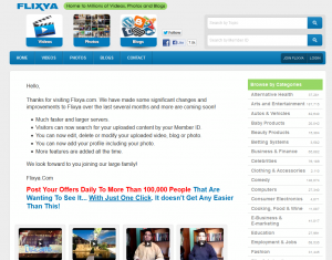 Flixya.com video sharing network home page full size image