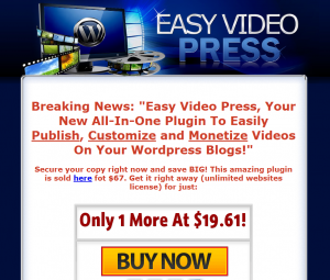 The Easy Video Press Wordpress Plugin (EasyVideoPress.com) sales page full size image