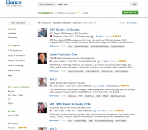 Elance.com Video SEO Contractors page full size image