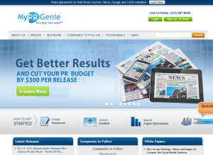 MyPRGenie (MyPrGenie.com) home page full size image