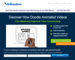 Sellamations (Sellamations.com) Doodle Animation Video service home page full size iamge